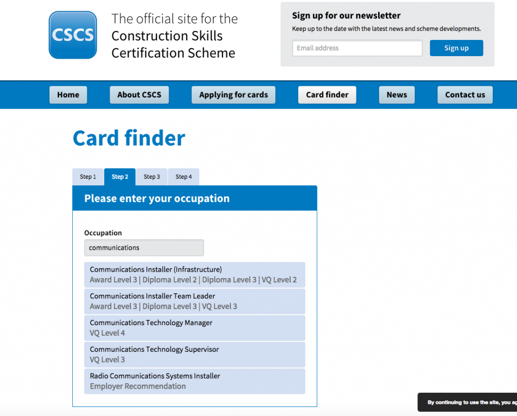 CSCS Gold Card Communication Installer